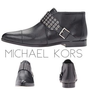 NEW Michael Kors black leather buckle booties 11